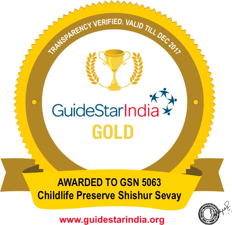 A 2017 Gold Seall for Childlife Preserve Shishur Sevay from GuideStar India